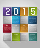 Calendar template. Calendar 2015 template design, colorful squares with shadow stock illustration