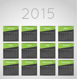 Calendar template. Calendar 2015 template design, green squares with shadow Royalty Free Stock Photography