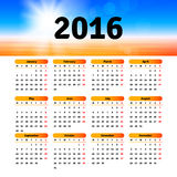 Calendar 2016 template design. With header picture Stock Photography