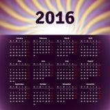 Calendar 2016 template design Royalty Free Stock Images