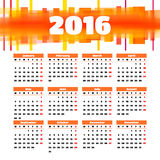 Calendar 2016 template design with header picture. Starts monday Stock Images
