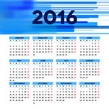 Calendar 2016 template design with header picture. Starts monday Royalty Free Stock Image