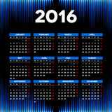 Calendar 2016 template design with header picture starts monday. Calendar 2016 template design with header picture Stock Photos