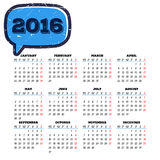 Calendar 2016 template design with header picture starts monday Stock Photography