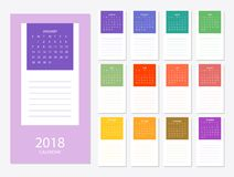 2018 Calendar template. 2018 calendar design print template with a place for entries. Week starts on sunday. Set of 12 months Stock Image