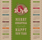 2014 Calendar. Template design - a symbol of calendar 2014, on the eastern calendar year of the horse Royalty Free Stock Photos