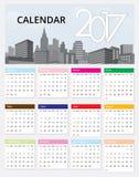 Calendar 2017 template design on urban scene Royalty Free Stock Image