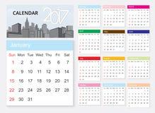 Calendar 2017 template design on urban scene. Stock Photography