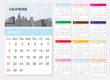 Calendar 2017 template design on urban scene. Calendar Vector eps10 vector illustration