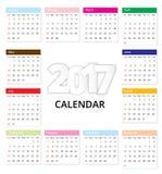 Calendar 2017 template design Royalty Free Stock Photo