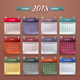 Calendar Template 2018. Design of wall monthly calendar for 2018 year. Print template with set of 12 month. Week starts monday. Vector Stock Photo