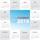 Calendar 2018 template design. Week starts from Sunday Stock Photography