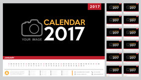 Calendar 2017 template design. Week starts from Sunday. Stock Image