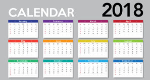 Calendar 2018 template design. Week starts from Sunday Stock Images