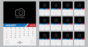Calendar 2018 template design. Week starts from Sunday Stock Photo