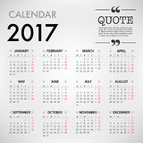 Calendar for 2017 template design on White Background. Week Star Stock Photo