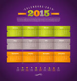 Calendar 2015. Template design - calendar of 2015 year with holidays icons royalty free illustration