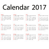 2017 calendar template. First day Sunday. Illustration in  format. 2017 calendar template. First day Sunday. Illustration in Stock Images