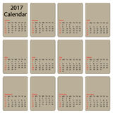 2017 calendar template. First day Sunday. Illustration in vector format Stock Image