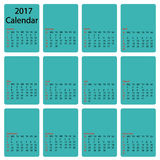 2017 calendar template. First day Sunday. Illustration in vector format. Stock Image