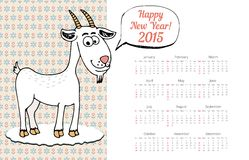 Calendar Template 2015 with Goat Graphic. And New Year Concept Stock Images