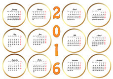 Calendar 2016. Template with golden circles on a white background royalty free illustration
