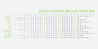 Calendar  template 2016. In green and black colors Stock Image
