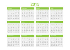 Calendar template 2016. In a grey and green gamma vector illustration