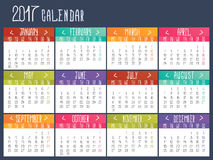 Calendar template for 2017. Calendar grid stock illustration