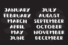 Handwritten names of months. calendar template. Bold font vector illustration