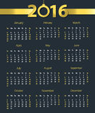 2016 calendar template with hanging bell on dark blue background. Week starts with Sunday. Vector illustration Royalty Free Stock Photo