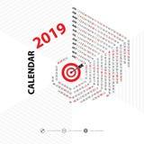 2019 Calendar Template.Hexagon shape calendar.Calendar 2019 Set. Of 12 Months.Yearly calendar vector design stationery template.Vector illustration Stock Image