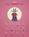 Calendar template hipster design. Year of the goat. Vector illustration stock illustration