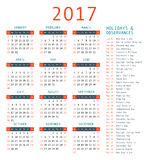 Calendar template for 2017. Stock Image