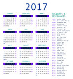 Calendar template for 2017. Calendar and holiday dates 2017 vector illustration