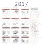 Calendar template for 2017. Calendar and holiday dates 2017 Stock Illustration