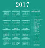 Calendar template for 2017. Royalty Free Stock Photography
