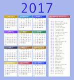 Calendar template for 2017. Calendar and holiday dates 2017 royalty free illustration
