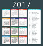 Calendar template for 2017. Royalty Free Stock Image