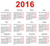 2016 Calendar template. Horizontal weeks. First day Monday Royalty Free Stock Photo
