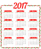 2017 calendar template. 2017 Calendar. Template of calendar 2017 with hot chili pepper border in colors of Mexican flag. Design idea for advertisement. Week Stock Images