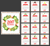 2017 calendar template. 2017 Calendar. Template of calendar with hot chili pepper border in colors of Mexican flag and set of vegetables. Design idea for Royalty Free Stock Photos