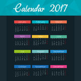 Calendar 2017 template icon. Vector illustration design Stock Images