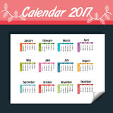 Calendar 2017 template icon. Vector illustration design Royalty Free Stock Image