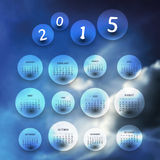 Calendar 2015 - Template Illustration with Blurred Background vector illustration