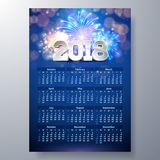 2018 Calendar Template Illustration. With 3d Number on Shiny Fireworks Background. Week Starts on Sunday. Vector Design Stock Images