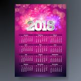 2018 Calendar Template Illustration with 3d Number on Shiny Fireworks Background. Week Starts on Sunday. Vector Design. 2018 Calendar Template Illustration with Royalty Free Stock Photography
