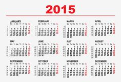2015 calendar template. Illustration in vector format Royalty Free Stock Photography