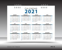 Calendar 2021 template layout, blue background, business brochure flyer, print media, advertisement, Simple design. Template, creative vector illustration stock illustration