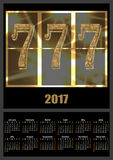 Calendar 2017 template with lucky seven slot machine font vector illustration